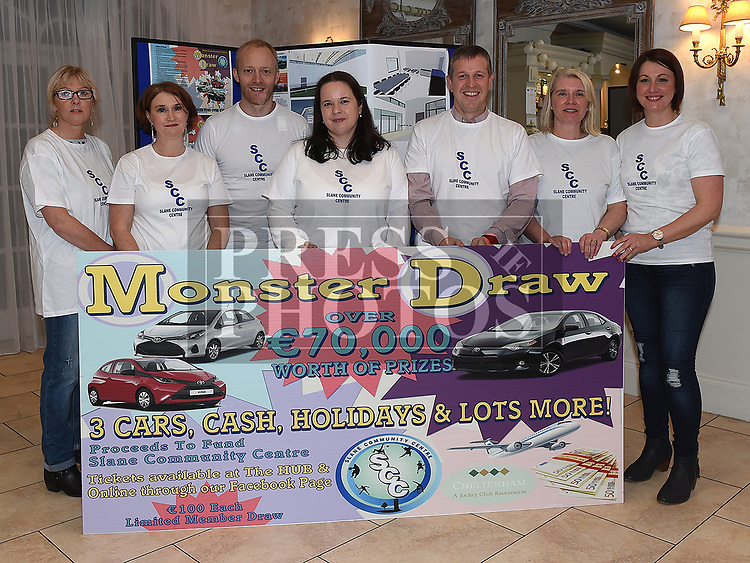 Slane Community Centre Committee members Loretto Corish, Ellen Sexton, Declan Bolger, Joanne Maguire, Colm Devin, Maeve Heavey, and Katherine Fogarty at the launch of their monster draw in the Conyngham Arms hotel. Photo:Colin Bell/pressphotos.ie