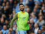 Sergio Aguero of Manchester City smiles as the crowd sings his name as he warms up during the English Premier League match at the Etihad Stadium, Manchester. Picture date: May 13th 2017. Pic credit should read: Simon Bellis/Sportimage