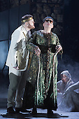 """Pictured: Roland Wood as Oedipus, the King and Matthew Best as Tiresias, a blind prophet. Dress rehearsal of Thebans. English National Opera gives world premiere of British composer Julian Anderson's first opera """"Thebans"""" at the London Coliseum. Thebans is based on the three Theban plays by Sophocles that chronicle the cursed life of Oedipus and his daughter Antigone. Thebans opens at the London Coliseum on 3 May 2014 for 7 performances. The new production is supported by The Boltini Trust, PRS for Music Foundation and ENO's Contemporary Opera Group, a co-production with Theater Bonn in Germany. With Roland Wood as Oedipus, Peter Hoare as Creon (Jocasta's brother), Matthew Best as Tiresias (blind prophet), Susan Bickley as Jocasta (Oedipus' mother/wife) and Julia Sporsen as Antigone (Oedipus' daugher). Score by Julian Anderson, libretto by Frank McGuinness, directed by Pierre Audi and conducted by Edward Gardner."""