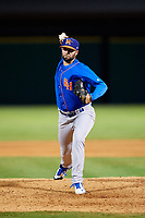 Midland RockHounds relief pitcher Kyle Friedrichs (27) delivers a pitch during a game against the Arkansas Travelers on May 25, 2017 at Dickey-Stephens Park in Little Rock, Arkansas.  Midland defeated Arkansas 8-1.  (Mike Janes/Four Seam Images)