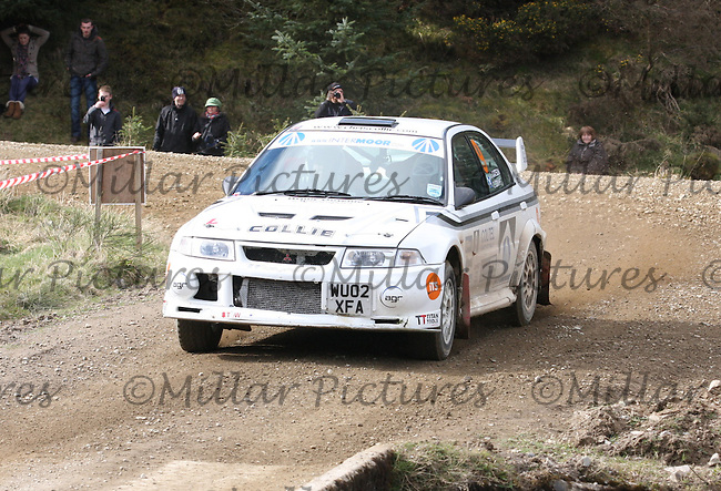 Chris Collie / Lisa Watson in a Mitsubishi Evolution 6 at Junction 3 on John Lawrie Group Special Stage 5 Fettersso 2 of the Coltel Granite City Rally 2012 which was based at the Thainstone Agricultural Centre, Inverurie.