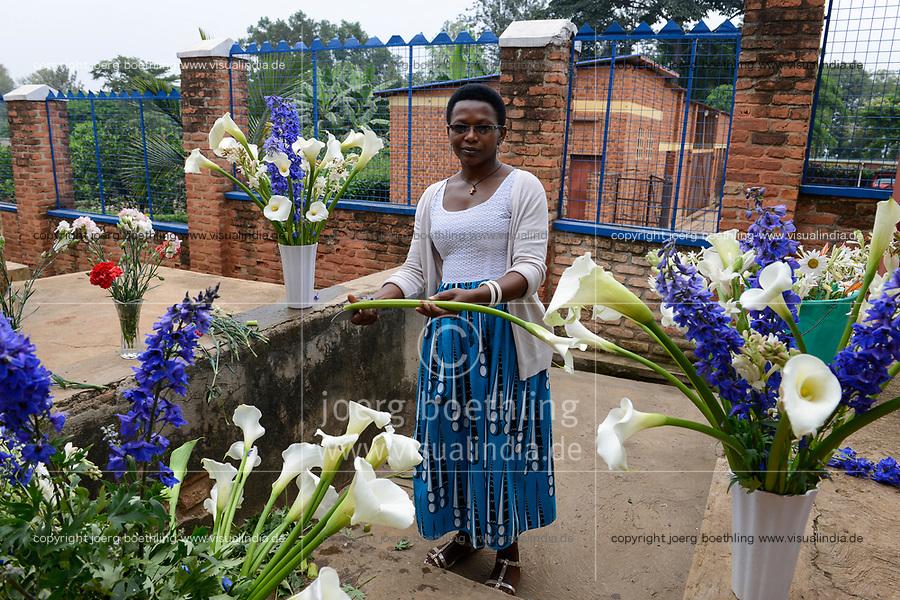 RWANDA, Kigali, Gikondo, Centre St. Vincent Pallotti, woman cuts flowers for marriage