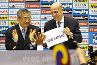 Fina President Julio Maglione (r) shows the board with the name of Gwangju that will host the 2019 World Championships <br /> Press conference to decide host cities for World Championships 2019 / 2021 <br /> Barcellona 19/7/2013 <br /> Barcelona 2013 15 Fina World Championships Aquatics <br /> Foto Andrea Staccioli Insidefoto