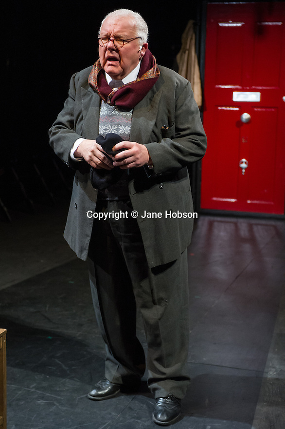 London, UK. 21.02.2014. THE A TO Z OF MRS P has its world premiere at Southwark Playhouse.  The story behind the handy, all-purpose, pocket-sized A-Z Street Guide is written by Diane Samuels (book) and Gwyneth Herbert (music and lyrics). <br />  Starring ISY SUTTIE (Peep Show / Shameless) in her first musical, as the pioneering Mrs P; with Tony Award winner FRANCES RUFFELLE (Les Miserables, Pippin, Piaf) as her emotionally fragile mother; and Olivier Award winner MICHAEL MATUS (Martin Guerre, The Baker's Wife, The Sound Of Music) as Phyllis&rsquo;s beloved and impossible father, the map publisher Sandor Gross. Directed by Sam Buntrock. Picture shows: Sidney Livingstone (Mr Fountain). <br /> Photograph &copy; Jane Hobson.