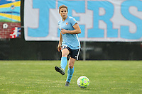 Piscataway, NJ, May 7, 2016.  Defender Kelley O'Hara (19) of Sky Blue FC passes the ball forward in their game against the Western New York Flash.  The Western New York Flash defeated Sky Blue FC, 2-1, in a National Women's Soccer League (NWSL) match at Yurcak Field.