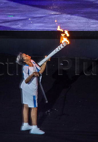 07.9.2016. Rio de Janeiro, Brazil.  Marcia Malsar falls down with the Paralympic torch during the Opening Ceremony of the Rio 2016 Paralympic Games, Rio de Janeiro, Brazil, 07 September 2016.