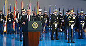 Outgoing United States Secretary of Defense Chuck Hagel makes remarks during an Armed Forces Farewell Tribute, January 28, 2015 at Joint Base Myer-Henderson Hall, Virginia. Deputy Secretary Ashton Carter, who has served under Leon Panetta and Hagel is expected to be easily approved by the Senate to succeed Hagel.<br /> Credit: Mike Theiler / Pool via CNP