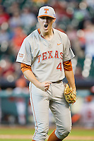 Texas Longhorns relief pitcher Morgan Cooper #41 reacts after getting the final out in the 8th inning against the Sam Houston State Bearkats at Minute Maid Park on March 2, 2014 in Houston, Texas.  The Longhorns defeated the Bearkats 3-2 to finish the tournament 3-0.  (Brian Westerholt/Four Seam Images)