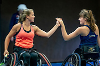 Alphen aan den Rijn, Netherlands, December 18, 2019, TV Nieuwe Sloot,  NK Tennis, Wheelchair doubles: Jinte Bos (NED) and Lizzy de Greef (NED) (L)<br /> Photo: www.tennisimages.com/Henk Koster