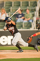 Mike Mooney #7 of the Delmarva Shorebirds follows through on his swing against the Kannapolis Intimidators at Fieldcrest Cannon Stadium May 12, 2010, in Kannapolis, North Carolina.  Photo by Brian Westerholt / Four Seam Images