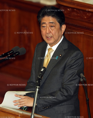 January 23, 2017, Tokyo, Japan - Japanese Prime Minister Shinzo Abe answers questions by the main opposition Democratic Party Secretary General Yoshihiko Noda for Abe's policy speech at the Lower House's plenary session at the National Diet in Tokyo on Monday, January 23, 2017. Abe said he had no change of his view for U.S. President Donald Trump as Trump was a trustworthy leader.   (Photo by Yoshio Tsunoda/AFLO) LWX -ytd-