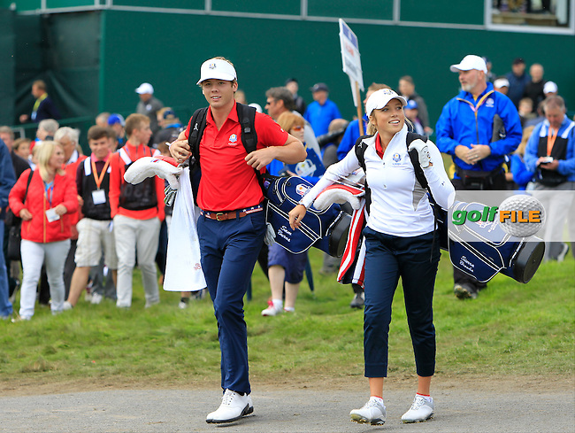 Sierra Brooks and Sam Burns (USA) during Practice on Wednesday at the 40th Ryder Cup, The Gleneagles Hotel, Perthshire from 26th to 28th September 2014<br /> Picture Thos Caffrey, www.golffile.ie
