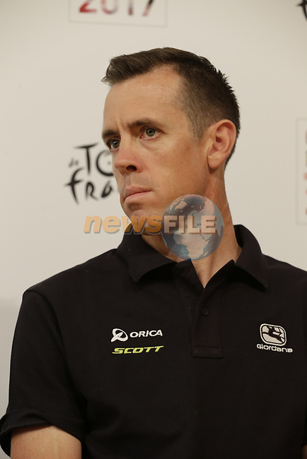 Mathew Hayman (AUS) Orica-Scott press conference in Dusseldorf before the 104th edition of the Tour de France 2017, Dusseldorf, Germany. 29th June 2017.<br /> Picture: Eoin Clarke | Cyclefile<br /> <br /> <br /> All photos usage must carry mandatory copyright credit (&copy; Cyclefile | Eoin Clarke)