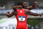 EUGENE, OR - JUNE 8: Cameron Burrell and Elijah Hall of the Houston Cougars celebrate after placing first and second in the 100 meter dash during the Division I Men's Outdoor Track & Field Championship held at Hayward Field on June 8, 2018 in Eugene, Oregon. (Photo by Jamie Schwaberow/NCAA Photos via Getty Images)