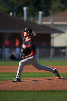 Batavia Muckdogs pitcher Steven Farnworth (55) delivers a pitch during a game against the Auburn Doubledays on September 7, 2015 at Falcon Park in Auburn, New York.  Auburn defeated Batavia 11-10 in ten innings.  (Mike Janes/Four Seam Images)