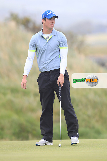 Colin Fairweather (Knock) on the 17th green during Matchplay Semi Final of the South of Ireland Amateur Open Championship at LaHinch Golf Club on Sunday 26th July 2015.<br /> Picture:  Golffile | TJ Caffrey