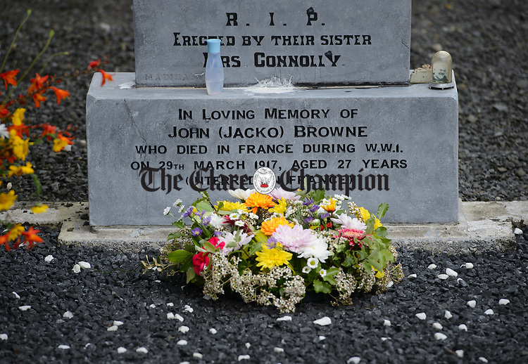 A wreath is played on the grave at a commemorative service in Kilchreest cemetery to mark the one hundredth anniversary of the death of local man John Jacko Browne who was killed in the First World War and is buried in Saulty, France. Photograph by John Kelly.