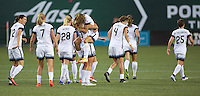 Portland, Oregon - Wednesday September 7, 2016: Portland Thorns players celebrate after a goal during a regular season National Women's Soccer League (NWSL) match at Providence Park.