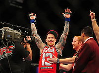 Oct. 29, 2011; Las Vegas, NV, USA; UFC fighter Bart Palaszewski celebrates after winning a featherweight bout during UFC 137 at the Mandalay Bay event center. Mandatory Credit: Mark J. Rebilas-