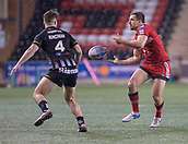 22nd March 2018, Select Security Stadium, Widnes, England; Betfred Super League rugby, Widness Vikings versus Salford Red Devils; Logan Tomkins gets the ball past Charly Runciman