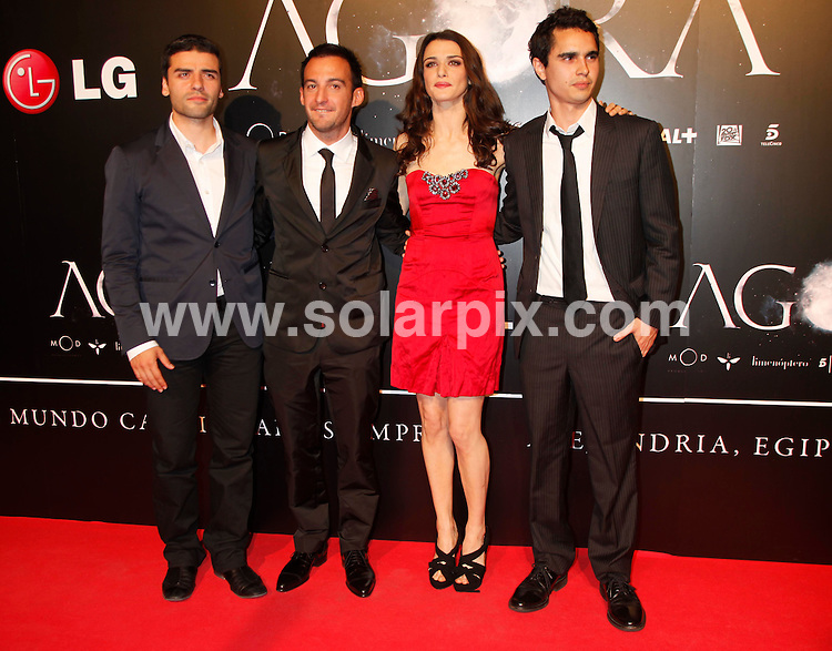 """**ALL-ROUND PICTURES FROM SOLARPIX.COM**.**WORLD SYNDICATION RIGHTS EXCEPT BELGIUM, GERMANY, HOLLAND, SCANDINAVIA, SOUTH AMERICA, SPAIN, & USA**.Arrivals at the spanish premiere for the film """"Agora"""", with actors and the director, Madrid, Spain. 6 October 2009..This pic: Rachel Weisz, Max Minghella, Oscar Isaac and Alejandro Amenabar..JOB REF: 10076 SKX      DATE: 06_10_2009.**MUST CREDIT SOLARPIX.COM OR DOUBLE FEE WILL BE CHARGED**.**MUST NOTIFY SOLARPIX OF ONLINE USAGE**.**CALL US ON: +34 952 811 768 or LOW RATE FROM UK 0844 617 7637**"""