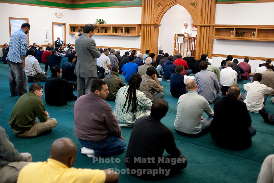 People pray and listen to a sermon at the Islamic Society of Greater Oklahoma City Mosque in Oklahoma City, Oklahoma, Friday, Nov., 12, 2010. The recent election became ugly in Oklahoma when opponents of Democratic candidate Cory Williams (cq), of Stillwater, ran a series of campaign ads portraying Williams as supporting Islamic extremists after he voted against a referendum to ban Sharia Law from Oklahoma courts...PHOTO/ MATT NAGER