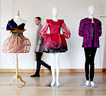 "The three chosen finalist entry garments by runner-up Matthew Karp, from Limerick Senior College entitled ""Butterfly Effect"" (left) with Overall winning entry, Emmy Slattery, from NCAD entitled ""Knotted (centre) and Niamh Rafferty, from The Grafton Academy entitled ""Encased"" (right), pictured on display before the announcement of the Nokia Young Fashion Designer Award."