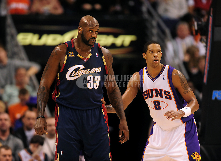 Dec. 21, 2009; Phoenix, AZ, USA; Cleveland Cavaliers center Shaquille O'Neal and Phoenix Suns center (8) Channing Frye at the US Airways Center. Cleveland defeated Phoenix 109-91. Mandatory Credit: Mark J. Rebilas-