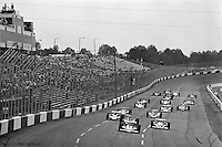 HAMPTON, GA - APRIL 22: Fastest qualifier Johnny Rutherford (#4 McLaren M24B/Cosworth TC) leads the field at the start of the Gould Twin Dixie 125 event on April 22, 1979, at Atlanta International Raceway near Hampton, Georgia.