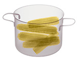 X-ray image of corn-on-the-cob in a pot (color on white) by Jim Wehtje, specialist in x-ray art and design images.