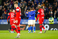 4th January 2020; King Power Stadium, Leicester, Midlands, England; English FA Cup Football, Leicester City versus Wigan Athletic; Leicester City players celebrate after Harvey Barnes scores after 39 minutes (2-0) - Strictly Editorial Use Only. No use with unauthorized audio, video, data, fixture lists, club/league logos or 'live' services. Online in-match use limited to 120 images, no video emulation. No use in betting, games or single club/league/player publications
