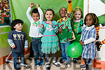 Children getting ready for Saint Patrick's Day at Shanakill FRC  from left: Samir Ghumied, Syria/Palastine AJ Matumula, Irish/Malawi, Nardin Solmon, Egyptian Destiny Ogie, Nigeria,  Faith Connolly Breen, Irish and Naomi Browne, Cameroon/Nigeria