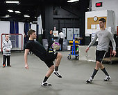 Kevin Rich (PC - 17), Trevor Mingoia (PC - 9), Mark Jankowski (PC - 10) - The Providence College Friars warmed up prior to the Frozen Four final at TD Garden on Saturday, April 11, 2015, in Boston, Massachusetts.