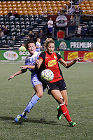 Rochester, NY - Friday July 01, 2016: Chicago Red Stars midfielder Taylor Comeau (7), Western New York Flash forward Lynn Williams (9) during a regular season National Women's Soccer League (NWSL) match between the Western New York Flash and the Chicago Red Stars at Rochester Rhinos Stadium.
