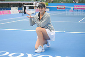 12th January 2018,  Kooyong Lawn Tennis Club, Kooyong, Melbourne, Australia; Priceline Pharmacy Kooyong Classic tennis tournament; Belinda Bencic of Switzerland smiles with her trophy after defeating Andrea Petkovic of Germany in the Kooyong Classic Women's final
