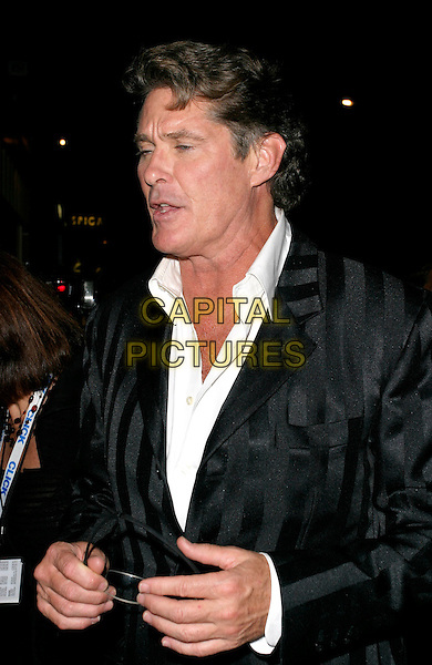 "DAVID HASSELHOFF.""Click"" afterparty at Floridita, London, UK..September 27th, 2006.Ref: AH.half length black stripes striped suit jacket .www.capitalpictures.com.sales@capitalpictures.com.©Adam Houghton/Capital Pictures."