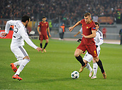 5th December 2017, Stadio Olimpic, Rome, Italy; UEFA Champions league football, AS Roma versus Qarabağ FK; Edin Dzeko takes on Qarabag defense