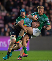 Newcastle Falcons'  Chris Harris is tackled by Harlequin's Alex Dombrandt<br /> <br /> Photographer Bob Bradford/CameraSport<br /> <br /> Premiership Rugby Cup Round 2 Pool 1 - Harlequins v Newcastle Falcons - Sunday 4th November 2018 - Twickenham Stoop - London<br /> <br /> World Copyright &copy; 2018 CameraSport. All rights reserved. 43 Linden Ave. Countesthorpe. Leicester. England. LE8 5PG - Tel: +44 (0) 116 277 4147 - admin@camerasport.com - www.camerasport.com