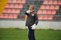 US goalkeeper coach Paul Rogers directs training. The USA defeated Norway 2-1 at Olhao Stadium on February 26, 2010 at the Algarve Cup.