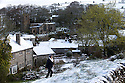 29/04/16 <br /> <br /> A walker passes a tree in full leaf in Hartington after snow hits the Derbyshire Peak District.<br /> <br /> All Rights Reserved: F Stop Press Ltd. +44(0)1335 418365   +44 (0)7765 242650 www.fstoppress.com
