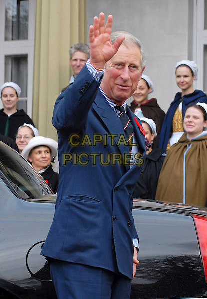 PRINCE CHARLES OF WALES .British Royals visit Dundurn Castle, the ancestral home of the Duchess of Cornwall, Hamilton, Ontario, Canada, .5th November 2009..half length hrh the royal blue suit tie poppies hand waving double breasted jacket .CAP/ADM/BPC.©Brent Perniac/Admedia/Capital Pictures