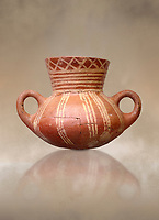 Very early Minoan rounded 2 handled pot with white and red linear motifs,  vaulted tombs Lebena 3000-2100 BC BC, Heraklion Archaeological  Museum.<br /> <br /> Made of grey clay these pots are the earliest found in the Lebena vaulted tombs