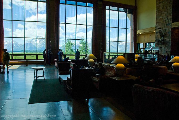 Grand Tetons and Jackson Lake Lodge 2 story lobby overlooking Jackson Lake and the Tetons