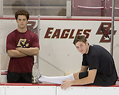 Mike Brennan and ?  The Boston College Eagles defeated the Providence College Friars 3-2 in regulation on October 29, 2005 at Kelley Rink in Conte Forum in Chestnut Hill, MA.  It was BC's first Hockey East win of the season and Providence's first HE loss.