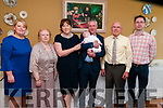 Baby Tomas Mason with his parents Trish & Tommy Mason, Liselton asnd god parents Olivia Whyte, Elizabeth Mason, Thomas Mason & Donal O'Sullivan who was christened in Ballydonoghue Church by Fr. Hegarty on Saturday last and afterwards at the Listowel Arms Hotel.