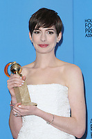 BEVERLY HILLS, CA - JANUARY 13: ANne Hathaway in the press room at the 70th Annual Golden Globe Awards at the Beverly Hills Hilton Hotel in Beverly Hills, California. January 13, 2013. Credit MediaPunch Inc. /NortePhoto