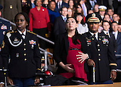 Audience members watch the Armed Forces Full Honor Review Farewell Ceremony for United States President Barack Obama at Joint Base Myers-Henderson Hall, in Virginia on January 4, 2017. The five braces of the military honored the president and vice-president for their service as they conclude their final term in office. <br /> Credit: Kevin Dietsch / Pool via CNP