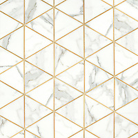 Hoffman, a waterjet stone mosaic, shown in honed Calcatta Gold and Brass.