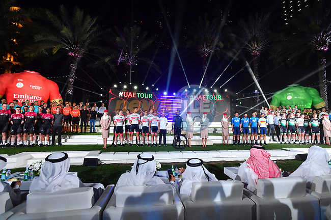 Team presentations for the UAE Tour 2020 held at<br /> Westin Dubai Mina Seyahi, Dubai. 22nd February 2020.<br /> Picture: LaPresse/Massimo Paolone | Cyclefile<br /> <br /> All photos usage must carry mandatory copyright credit (© Cyclefile | LaPresse/Massimo Paolone)