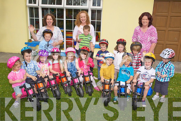 Last Day - The children of Ti?r Na nO?g Preschool in Ballinorig West pictured enjoying their last day on their revolutionary new 'YBikes' from South Africa which help with balance and co-ordination. Front l/r Katie O'Driscoll, Tommy Palmer, Allie Tarrant, Kate Feeney, Molly McDaid, Ciara Palmer, Noah Edwards, Jack Murphy, Phelim Carroll and Luke Sills, back l/r Jamie Lynch, Sheila Sweeney , Alex Riordan, Margaret Kennelly, Adam Bowler, Emma Tarrant, Ben Murphy and Paula Sills..